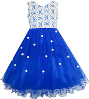 Sunny Fashion Flower Girls Dress Lace Pearl Dimensional Flowers Pageant Wedding Tulle 2016 Summer Princess Party