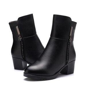 Image 4 - ZXRYXGS bottes de marque pour femme, chaussures dhiver en cuir véritable, tendance, en laine chaude, hiver, 2020