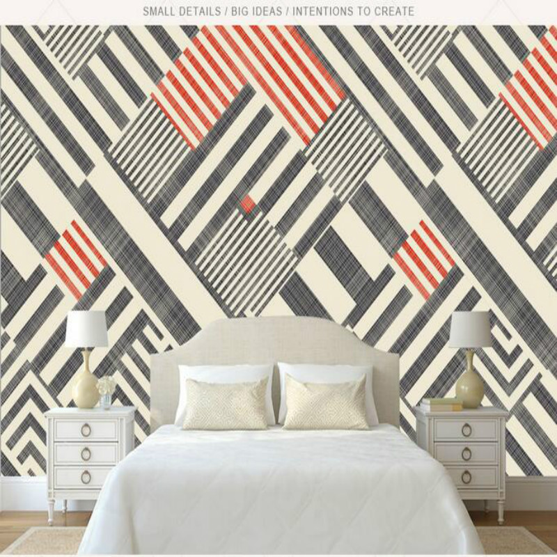 Home Improvement 3D Wallpaper for Walls 3d Decorative Wall Paper Background Painting Retro Nostalgia Abstract Geometric Lines