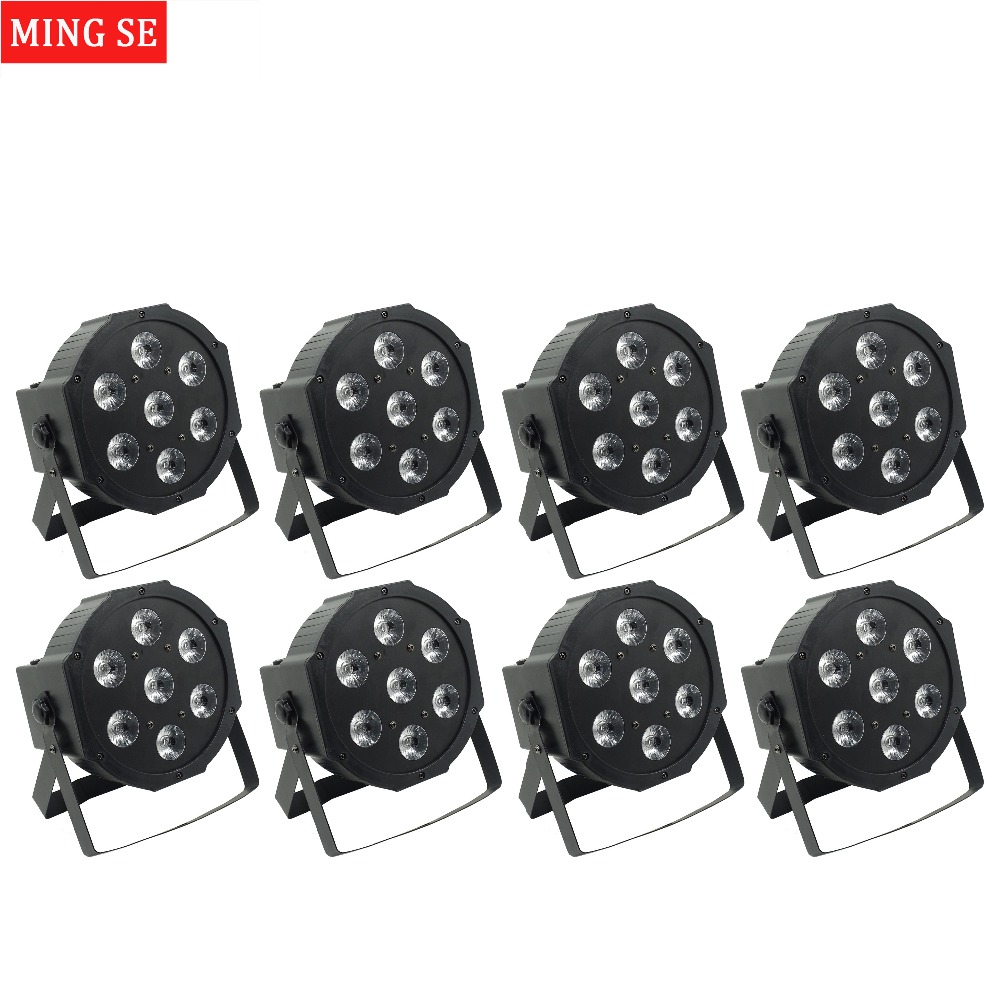 8pcs/lots 25 Angle big lens 7x18W led Par lights RGBWA UV 6in1 flat par led dmx512 disco lights professional stage dj equipment 30lot professional sound equipment led par64 light 7x18w rgbaw uv par light effect