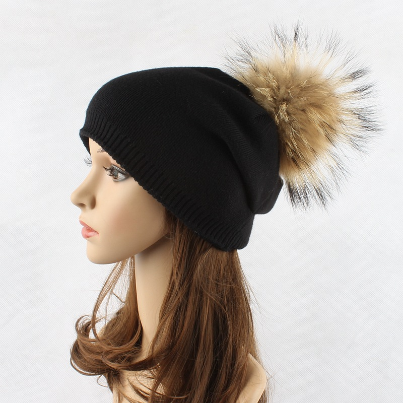 2018 Real Fur Pompoms Winter Hats For Women Beanies Hat Wool Warm Cap Hip Hop Caps Solid Beanie Black Pom Hats Girls Gorro in Men 39 s Skullies amp Beanies from Apparel Accessories