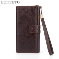 Betiteto Brand Genuine Cow Leather Men Wallet Male Coin Purse Vallet Clutch Portemonnee Cuzdan Carteras Kashelek Money Bag