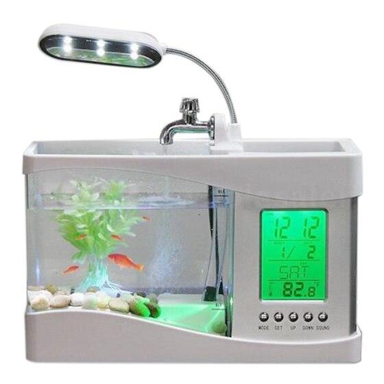 Aquarium Best Home Small Fish Tank USB LCD Desktop Lamp Light LED Clock White