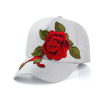 Womens Adjustable Embroidered Rose Flower Sun-shade Hats Outdoor Travel Sunscreen Visors Baseball Caps For Unisex