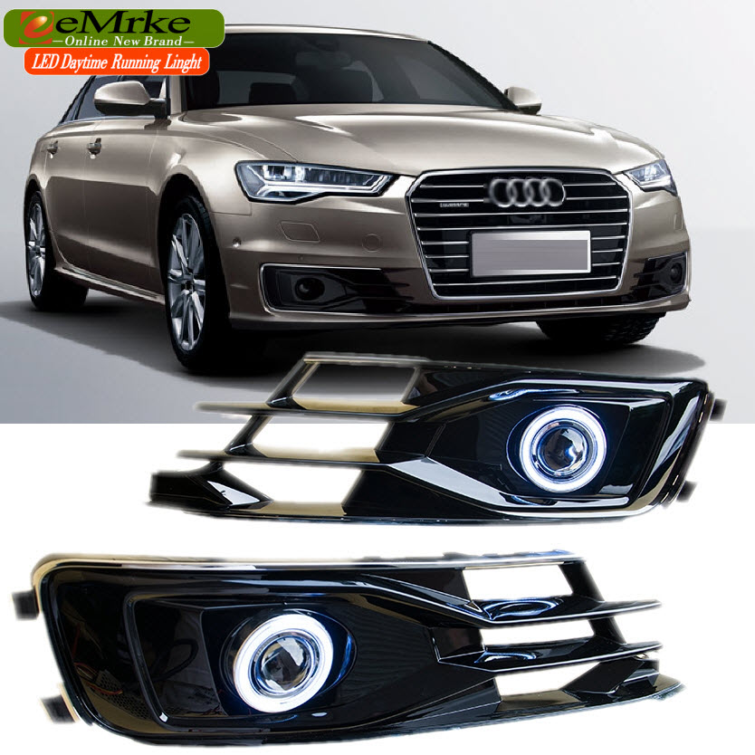 EEMRKE Car-Styling FOR Audi A6 A6-Quattro 2016 LED COB Angel Eye DRL Daytime Running Lights Halogen Bulbs H11 55W Fog Lamp Kits audi coupe quattro купить витебск