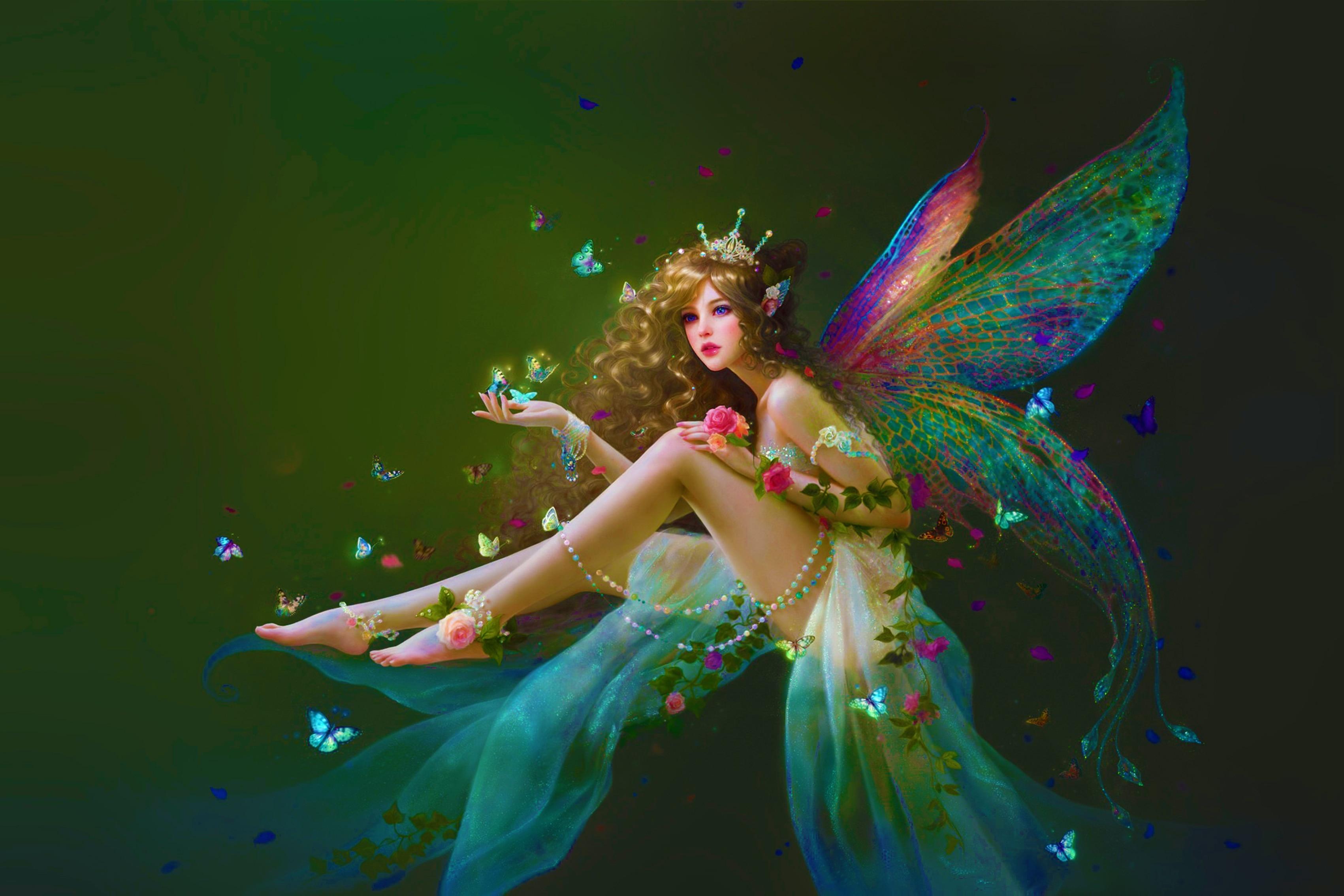 Girl flowers butterfly fairy art fairy fake ruoxin zhang ...
