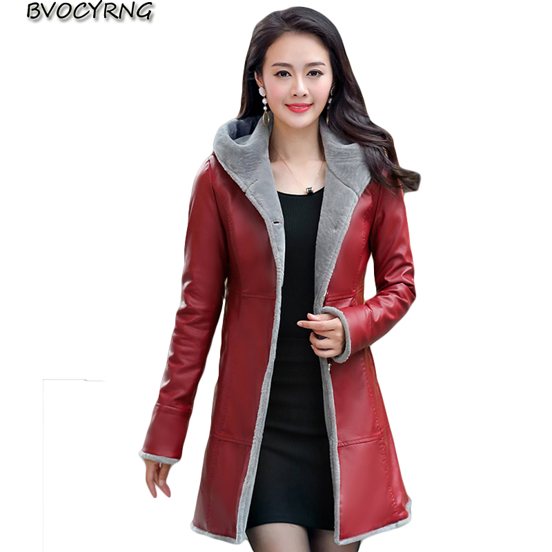 New Winter Plus Size   Leather   Jacket Women Hooded Pu Jacket Thick Warm   Leather   Coat Slim Female Medium Style Women's Coats A0041