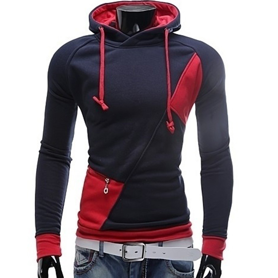 ZOGAA Newest Spring Autumn Mens Hoodie Contrast Color Splice Pullover Solid Patchwork Casual Hooded Street Wear Coat Hot Sale