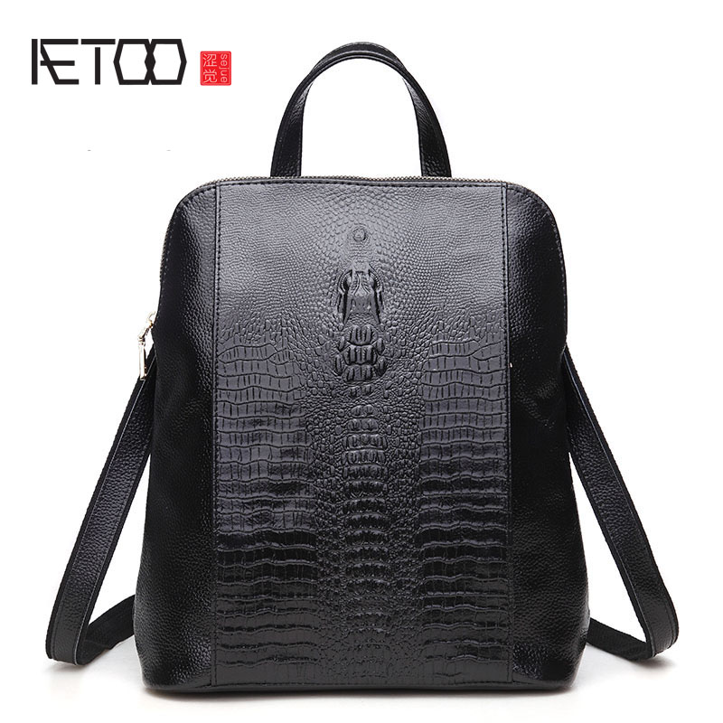 AETOO Leather men and women multi-functional package crocodile pattern shoulder Messenger leisure leather leather shoulder bag lipt 2018 mini package bag chain bag small package of the new spring and summer leisure package free shipping
