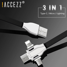 Get more info on the !ACCEZZ 3 in 1 USB Cable Lighting For iPhone 7 8 XS Max X XR Universal Type C Micro USB For Huawei Samsung Xiaomi Charging Cable