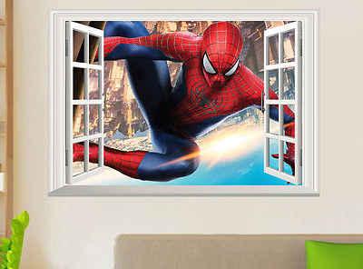 Человек паук 3D вид на окна большие настенные наклейки виниловые наклейки Фреска Искусство домашний декор Детская комната для мальчиков Супермен супергерой
