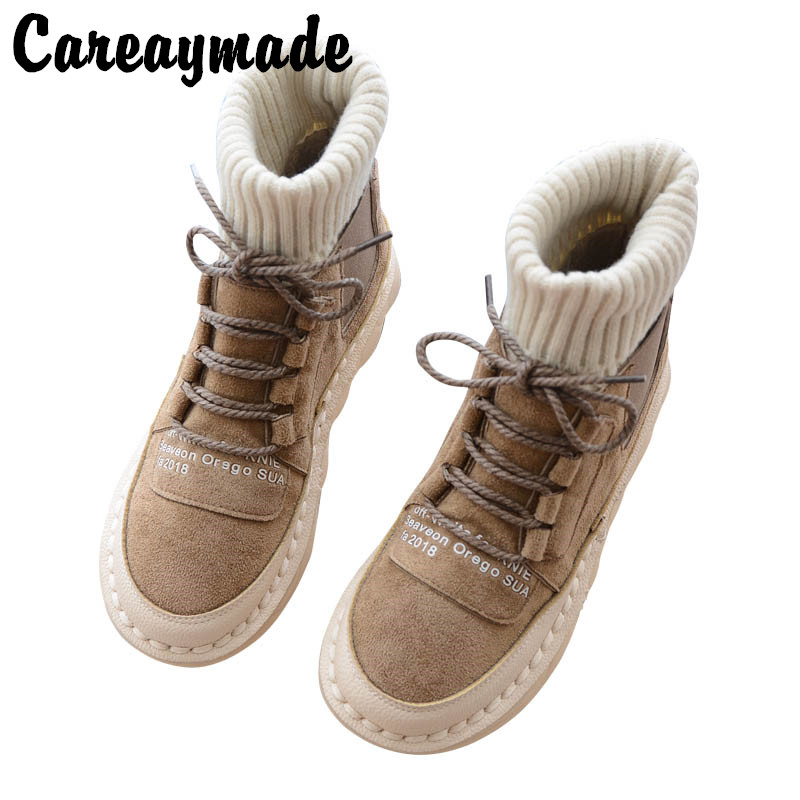 Careaymade Korean version of women s boots sewing soft soles comfortable casual boots the retro art