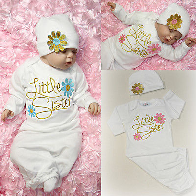 d378a6178c9fe Cute Little Sister Baby Girl Clothes Newborn Take Home outfit Baby Gown robe  +Hat Set