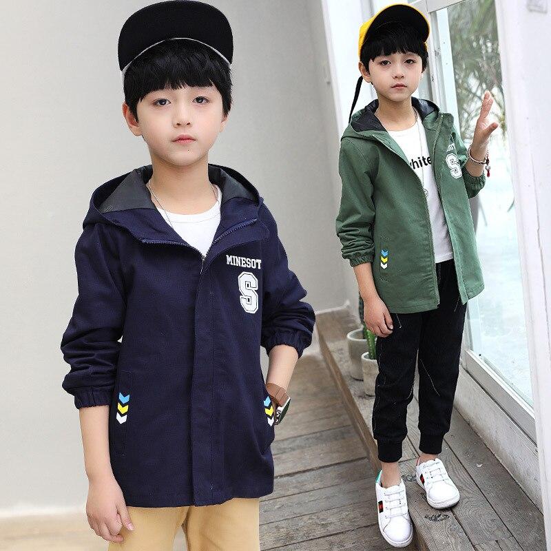Куртка для мальчиков для Демисезонный флисовые пальто с капюшоном для детей 3-14years детская ветровка Модный плащ Куртка для мальчиков c16