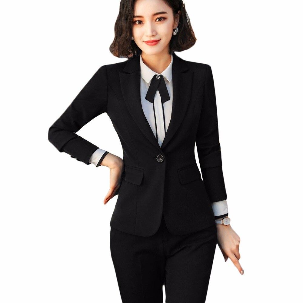 2 Pezzo Set Nero Vestito Con Pantaloni 2018 Formal Office Lady Disegni Uniformi Delle Donne Elegante Giacche Con Pantaloni Vestito Con Pantaloni Di Usura Del Lavoro Elegante E Grazioso