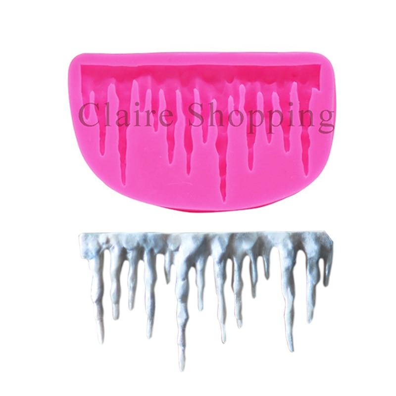 1 pc icicle conception silicone moule à cake fondant moule à gâteau outils de décoration chocolat gumpaste moule argile / moule en caoutchouc