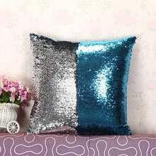 Recién sirena almohadas dos tonos lentejuelas tiro almohadilla almohada  caso DIY doble lados almohadas decorativas a1c0556c379c