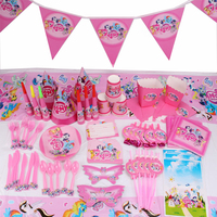 145pcs/lot Litty Pony Children Birthday Party Decorations Kids Evnent Party Supplies Birthday Tableware Sets Party Favors