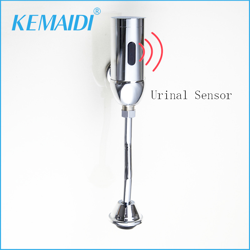 KEMAIDI Automatic Urinal Flush Valve Chrome Tap Bathroom Faucet Hands Free Wall Mounted Mixer dn15 automatic bypass valve for wall mounted boiler system