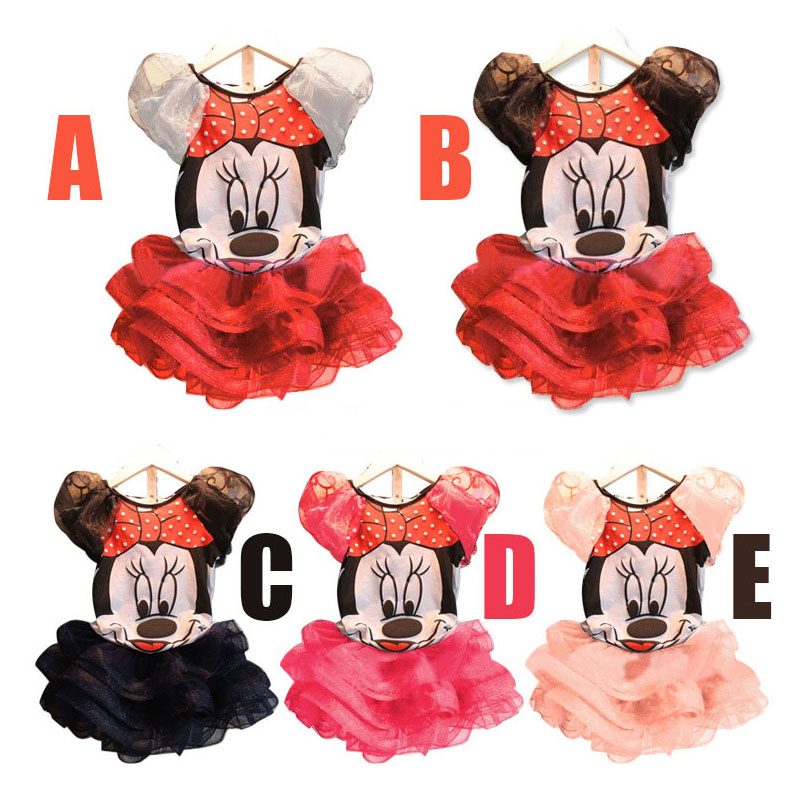 Hot Cosplay Girls Minnie Mouse Dress For Party Girl Kids Clothing Baby Children Fashion Summer Cartoon 2pcs Separate Set Dresses princess girls dress children long sleeve cartoon baby girl cotton party dresses for kids 2017 new minnie mouse dress cotton