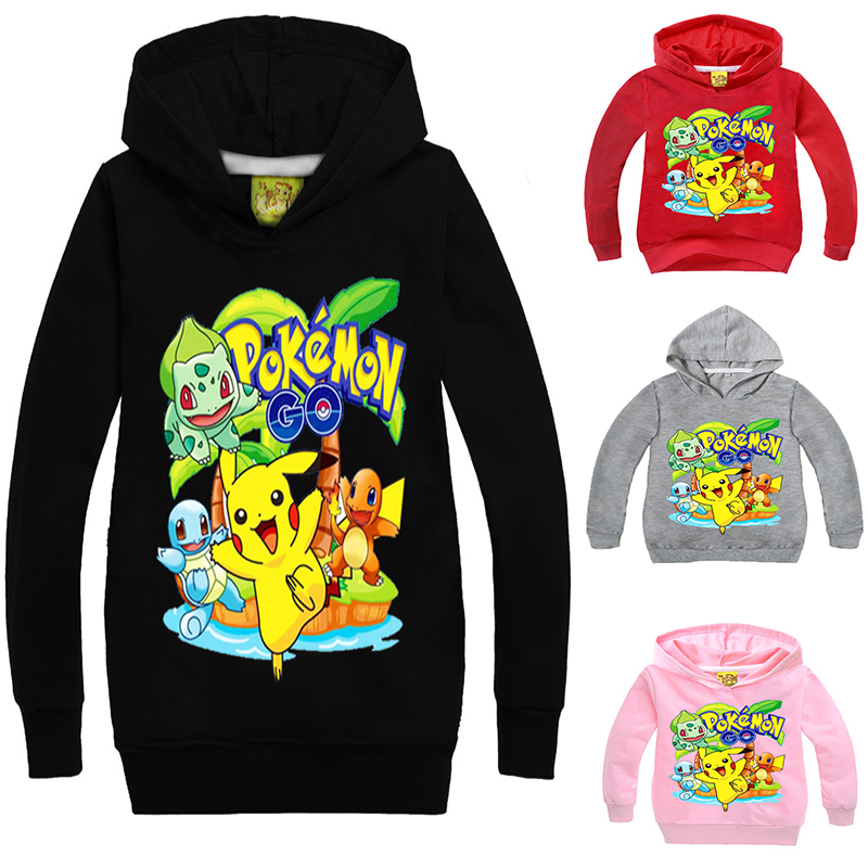 Anime Childrens Wear Cartoon Pikachu Hoodies Girls Boys Hoodie Hoody Casual Coat Sweatshirts Hooded Casual Coat Kid Gift
