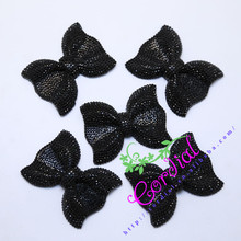 Hot Sale Cordial Design 50Pcs Black Resin Rhinestone Bows For Jewelry Making Necklace Bows
