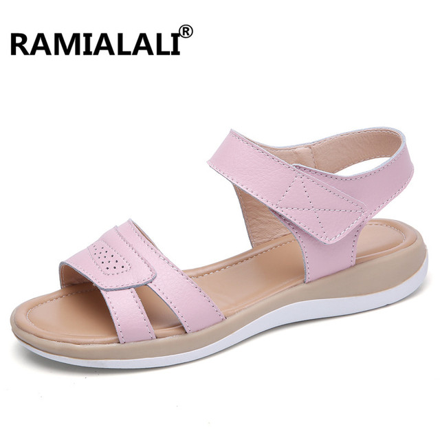 2046b013bc24 Ramialali Summer Women Sandals Platform Heel Leather Hook Loop Soft  Comfortable Wedge Shoes Ladies Casual Sandals White Blue