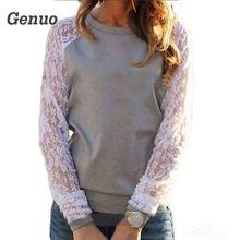 2018 Spring Women Casual Hoodies Sweatshirts Fashion Lace Patchwork Long Sleeve Sweatshirt O Neck Pullover Tops Sudaderas Mujer цена и фото