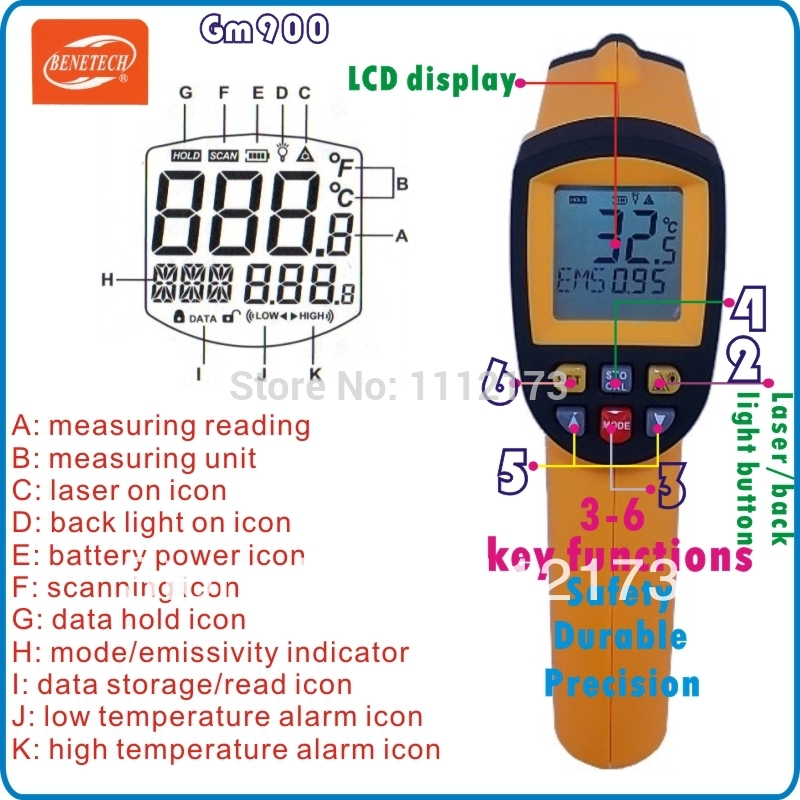 ФОТО Digital Temperature ThermometerGun Non-Contact LCD IR Laser Infrared -50~ 900 degree Free Shipping Wholesale