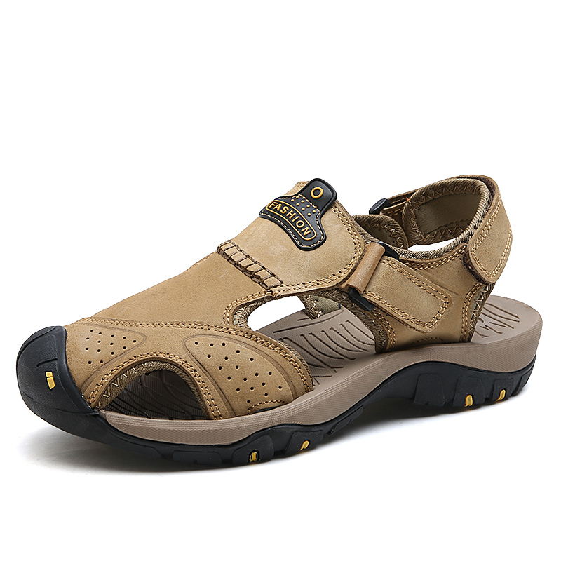 Mynde 2019 New Men Summer Sandals Genuine Leather Brand New Beach Men Sandals Breathable Slippers High Quality Men Casual Shoes