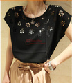 New arrival 2017 Fashion women summer loose-fitting shirt elegant flowers hollow wide crew neck Batwing Sleeve Chiffon