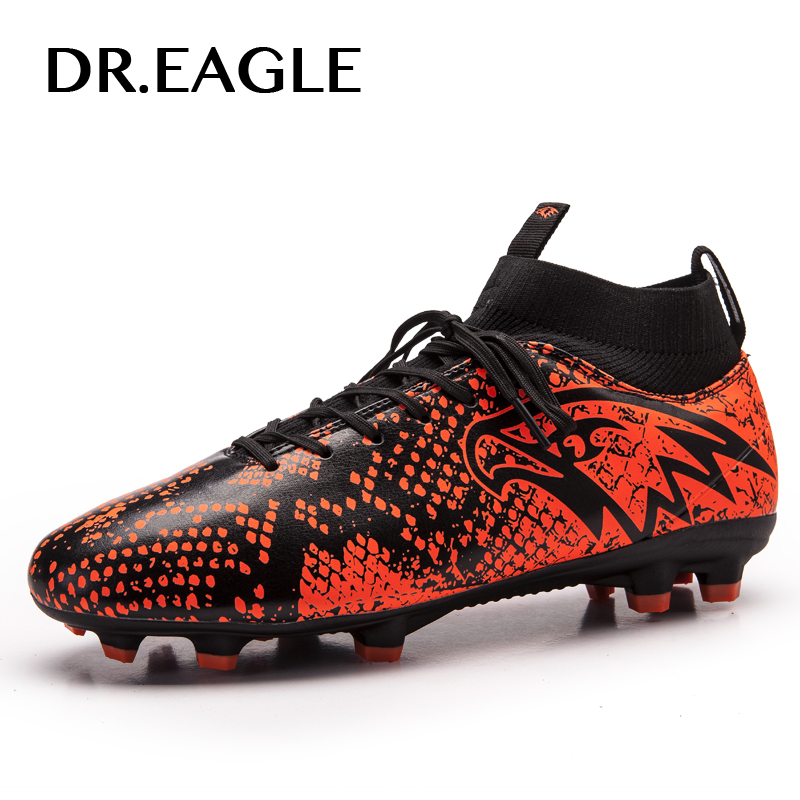 DR.EAGLE FG/AG Soccer Shoes Men Spike Football Boots High Ankle Cleats Sneakers Outdoor High Soccer Shoes EUR Size 38-45 kelme outdoor sport soccer shoes kids synthetic leather antiskid football boots training shoes rubber sole
