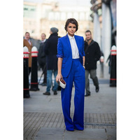 Bespoke Royal Blue Women's Workwear Suits Formal Ladies Trouser Business Suit Female Show Interview Wear