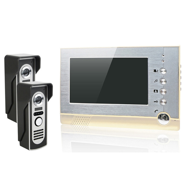 7'' LCD Video Intercom Door Phone Wired Intercom Doorbell Support Photo Shooting Storage 2 Camera 1 Monitor Door Intercom F4462J