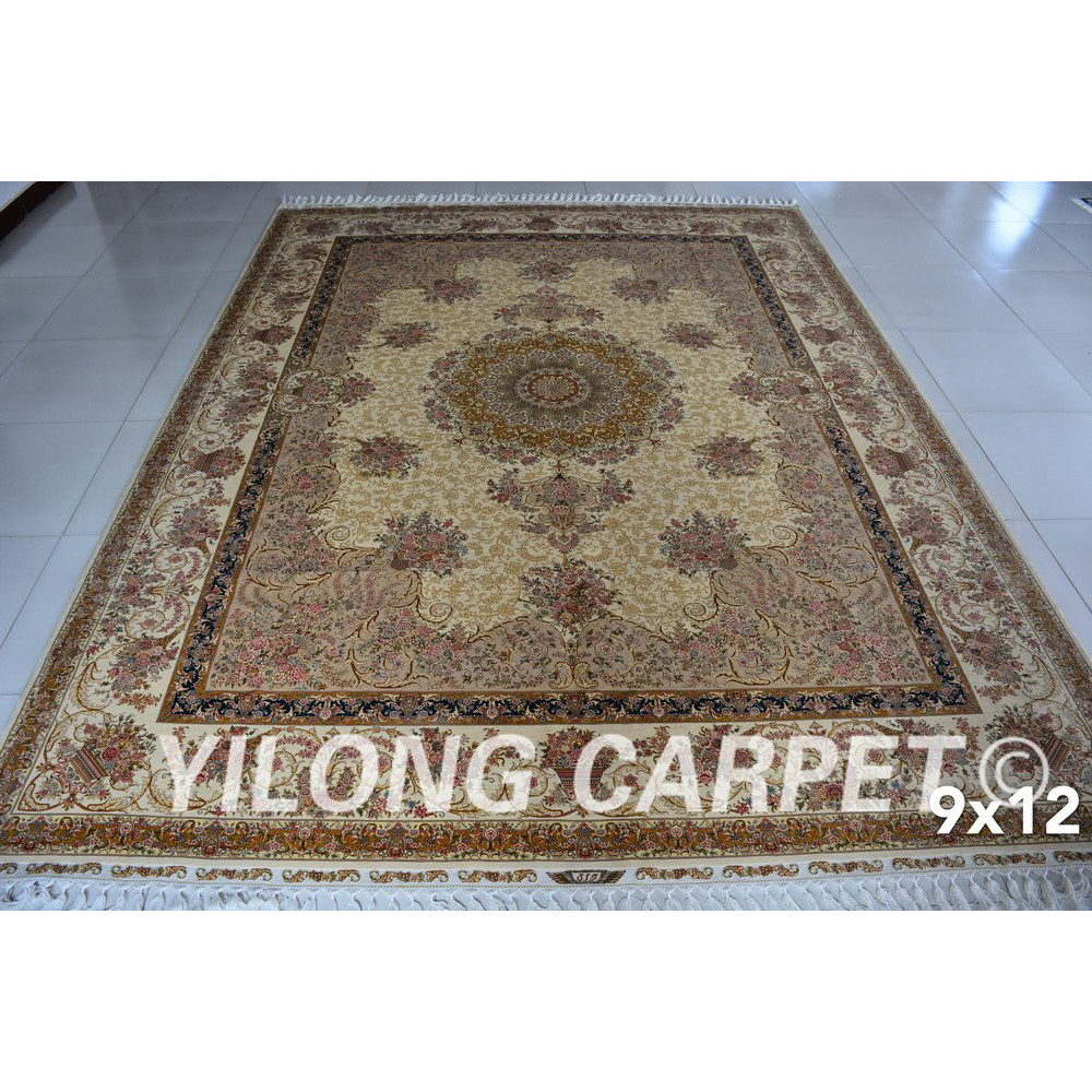 Yilong 9u0027x12u0027 hand kontted iranian silk rugs white and beige persian carpet  (