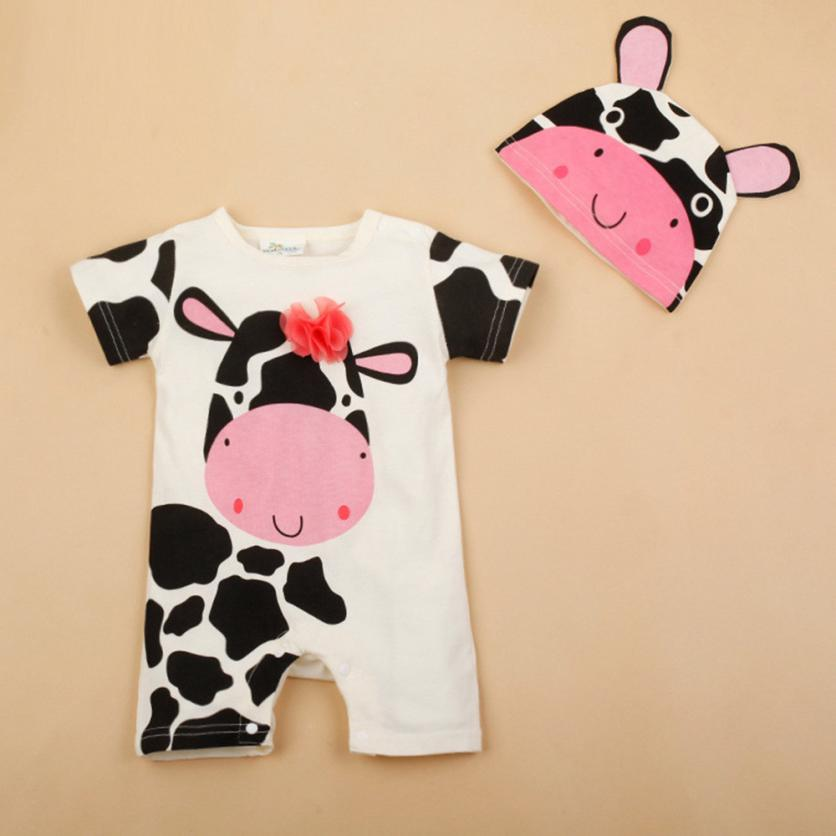 Arloneet Kids Baby Boy&Girl Cow Print Short Sleeve Romper Playsuit+Cow Print Hats Set l0712