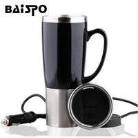 450 ML Araba Tabanlı Isıtma Paslanmaz Çelik Kupası Kettle Travel seyahat Kahve Çay Isıtmalı Kahve Süt Kupa Motor Sıcak Su