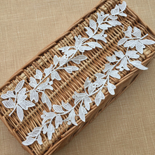 6Pieces/3pairs Polyester Leaf Lace Appliques Sew On Accessories New Trim Embroidery Applique Off White