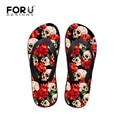 FORUDESIGNS New Summer Style Women Flip Flops Cool Skull Beach Slippers Casual Women Soft Sandals Flat Flipflops High Quality