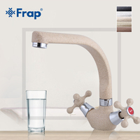 Frap NEW Multicolor Spray Painting Kitchen Faucet Filtered Water Mixer Tap Double Handle 360 Rotation Torneira