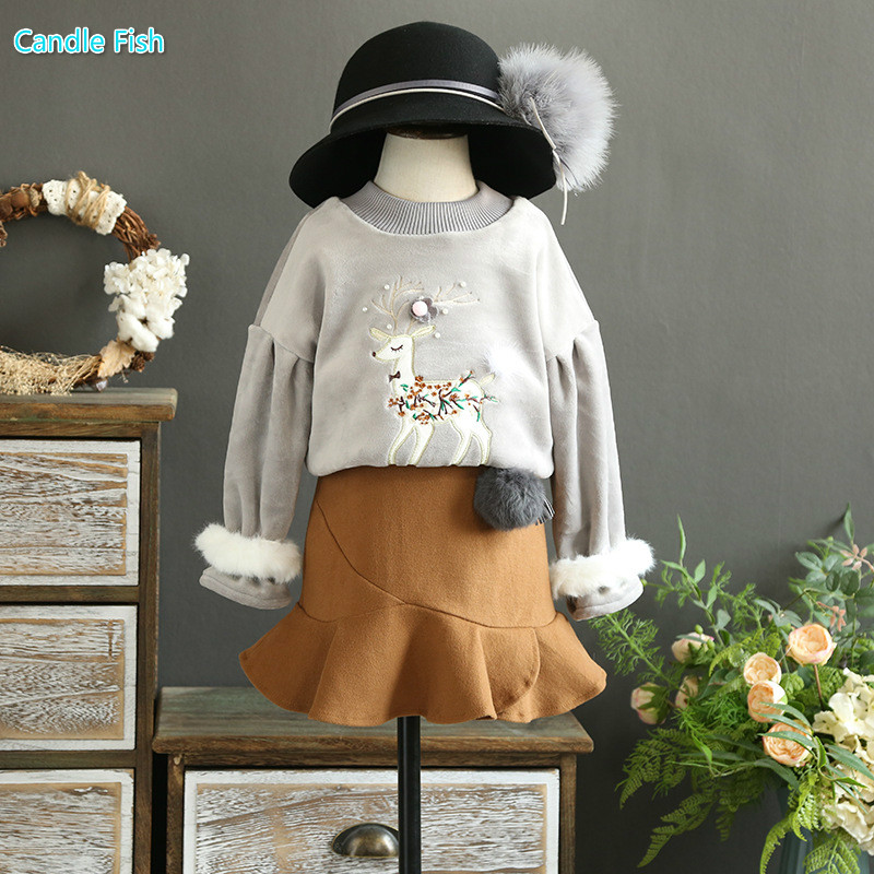 Children's clothing 2017 autumn and winter new gold velvet embroidery cute little deer sweater with woolen skirt two-piece 100 super cute little embroidery chinese embroidery handmade art design book