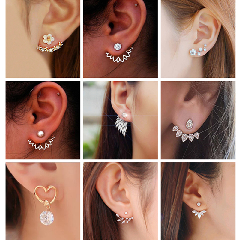 Korean Jewelry Zircon Pearl Heart Crystal Flower Angel Wings Geometry Stud Earrings For Women Statement Ear Jewelry Wholesale
