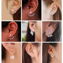 554e0f6bb Korean Jewelry Zircon Pearl Heart Crystal Flower Angel Wings Geometry Stud  Earrings For Women Statement Ear Jewelry Wholesale