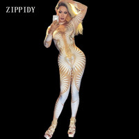 Sexy Geometric Patterns Jumpsuit Sparkly Stones Bodysuit Stage Wear Women S Celebrate Female Singer Crystals Costume
