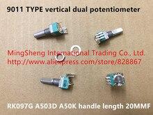 Original novo 100% 9011 vertical duplo potenciômetro rk097g a503d a50k comprimento do punho 20mmf (interruptor)