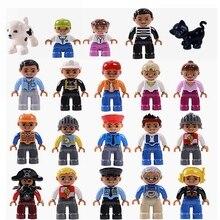 Legoing Duplo фигурка счастливая семья отец мортер братья сестры дедушка бабушка полицейский Фигурки игрушки для детей Duplo