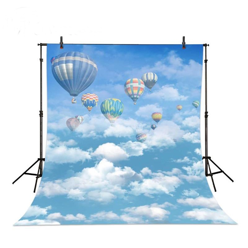 Hot Air Balloon Sky And White Clouds backdrop Vinyl cloth High quality Computer printed children kids Backgrounds for sale