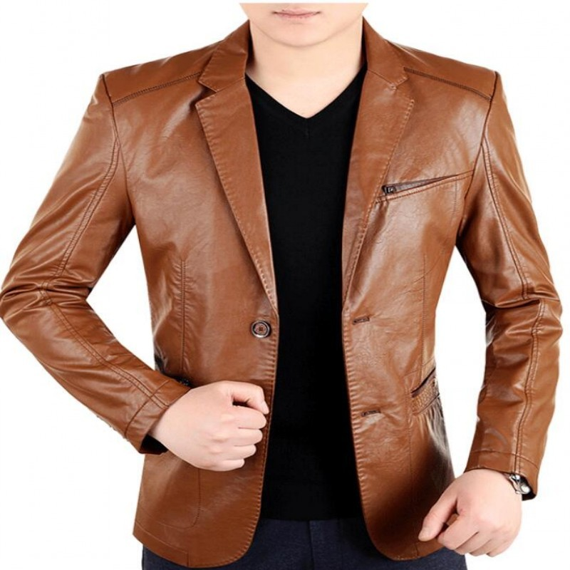 dc54b2456d9dd Nueva Inglaterra para hombre cuero 2 botones trajes vestido Formal Moda  hombre Blazers negro rojo marrón sólido abrigo motocicleta chaqueta de  gamuza ...