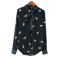 LYFZOUS New Spring Bird Print Blouse With Bowknot Women Blue Turn Down Long Sleeve Lace Up