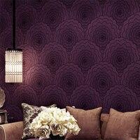 Pleasant Purple Wallpaper Modern Simple Bedroom Living Room TV Background Papel De Parede Large Flower Non